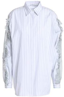 Marco De Vincenzo Gingham Ruffle-Trimmed Striped Cotton Blouse