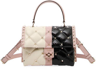 Valentino Candystud Colorblock Leather/Snake Top-Handle Bag
