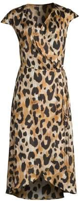 Gottex Swim Leopard Print Silk Chiffon Wrap Dress