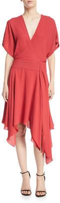 Halston Kimono Asymmetric V-Neck Wrap Dress
