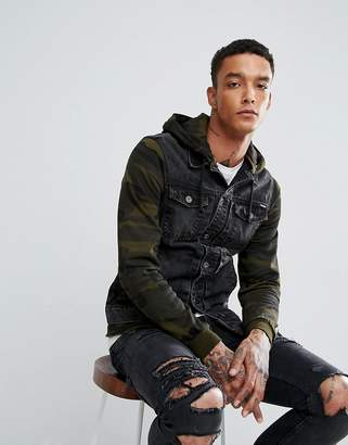 Pull&Bear Denim Jacket With Jersey Sleeves In Camo