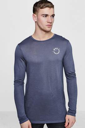 boohoo Long Sleeve MAN Muscle Fit T-Shirt