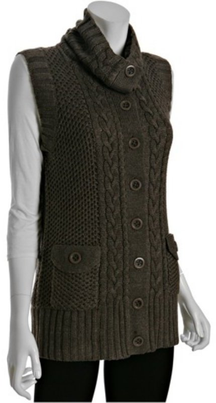 Magaschoni cedar merino wool cable button front vest