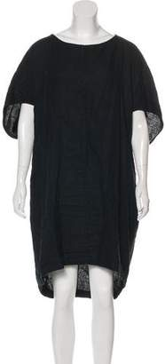 Black Crane Short Sleeve Knee-Length Dress