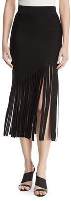 Cushnie et Ochs High-Waist Fitted Crepe Midi Skirt with Fringed Hem
