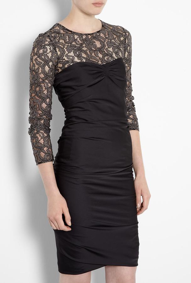 Moschino Cheap & Chic Lace Sleeve Dress