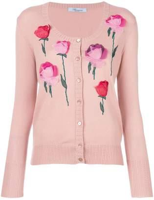Blumarine rose appliqué cardigan