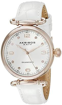 Akribos XXIV Women's AK878WTR Round Silver Dial Two Hand Quartz White Strap Watch
