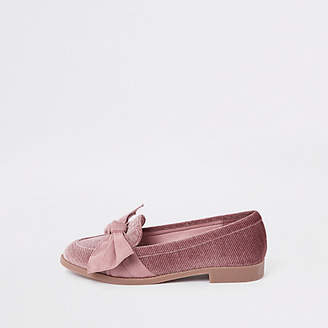 River Island Pink suede round toe bow loafers