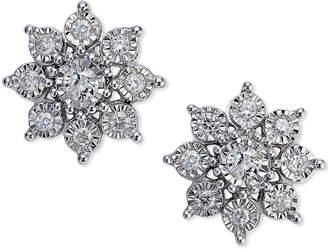 Macy's Diamond Flower Earrings (1/2 ct. t.w.)in 10k White Gold