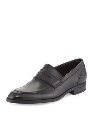 Ermenegildo Zegna Calf Leather Penny Loafer, Black