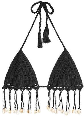 Anna Kosturova Crochet Knit Bikini Top with Shell Embellishments