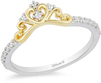 Zales Enchanted Disney Princess 1/10 CT. T.W. Diamond Heart Crown Contour Wedding Band in 14K Two-Tone Gold