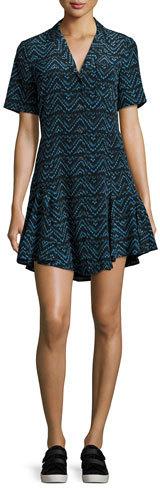A.L.C.A.L.C. Kayden Printed Button-Front Silk Shirtdress, Blue Pattern