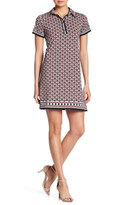 Max Studio Patterned Short Sleeve Shirt Dress