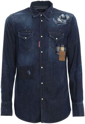 DSQUARED2 Distressed Patchwork Shirt