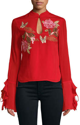 MACKINTOSH Millie Rose Embroidery Keyhole Blouse