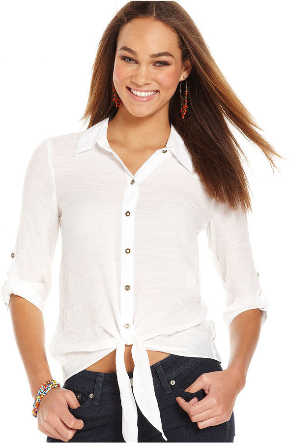 Amy Byer BCX Juniors Top, Three-Quarter Sleeve Tie-Front Button-Down