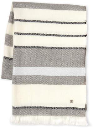 Laundry by Shelli Segal Metallic Stripe Frayed Scarf