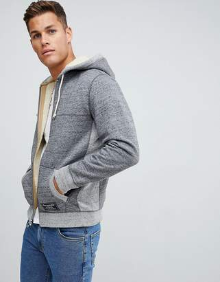 Abercrombie & Fitch fleece lined full zip hoodie chest logo in gray marl
