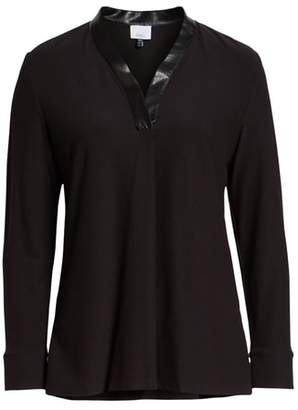 Ming Wang Faux Leather Neckline Tunic Top