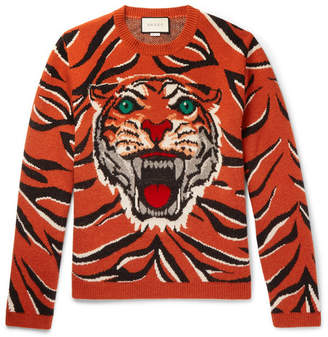 Gucci Embroidered Tiger-Intarsia Wool Sweater