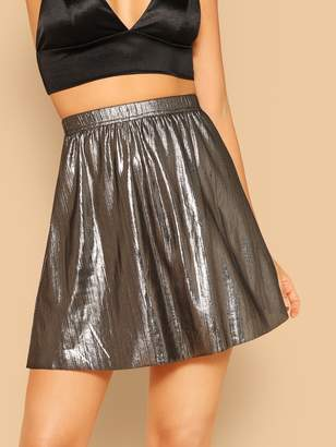 Shein Metallic Flare Skirt