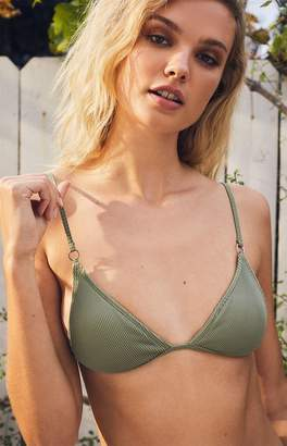 LA Hearts Green Pacifica Ring Triangle Bikini Top