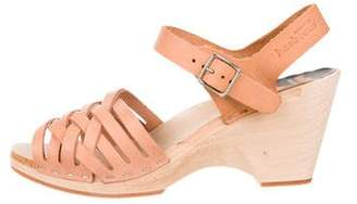 Swedish Hasbeens Leather Ankle Strap Wedges