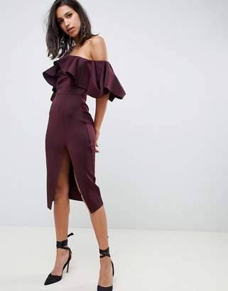 9edcd7ba3b Bardot Asos Design ASOS DESIGN Extreme ruffle midi dress with concertina  neckline