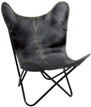 Fashion N You Safari Leather Riveted Butterfly Lounge Chair Upholstery : Black