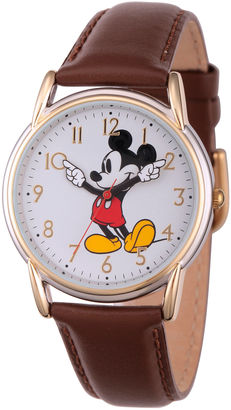 DISNEY Disney Womens Brown And Rose Gold Tone Vintage Mickey Strap Watch W002756 $39.99 thestylecure.com