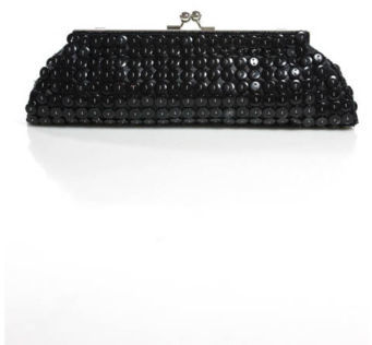 DESIGNER Black Button Detail Kiss Lock Chain Strap Clutch Shoulder Handbag
