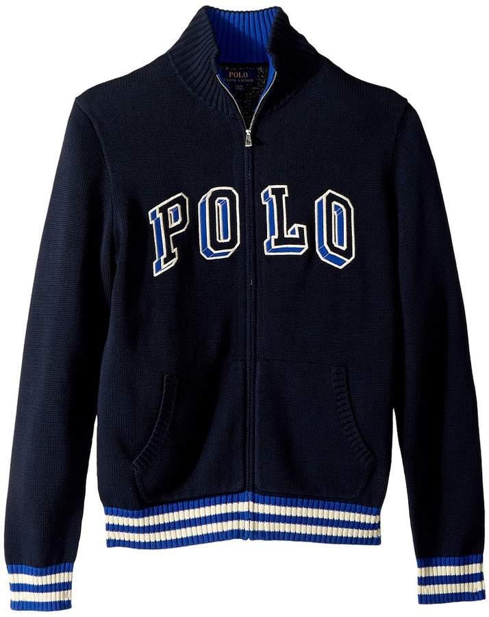 Polo Ralph Lauren Kids Cotton Full Zip Sweater (Big Kids)