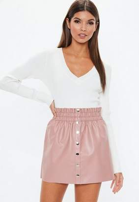 Missguided Nude Faux Leather Button Mini Skirt