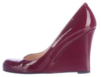 Christian Louboutin Christian Louboutin Round-Toe Patent Leather Wedges