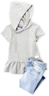 7 For All Mankind Infant Girls) Two-Piece Ruffle Hoodie & Jeans Set