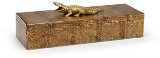 Chelsea House Alligator Decorative Box - Antiqued Gold