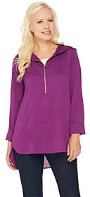 Belle by Kim Gravel Woven Half Zip Tunic withHood