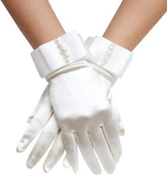 AliceHouse Women's Wrist Length Pearl Wedding Bridesmaid Bridal Dress Short Satin Gloves GV019