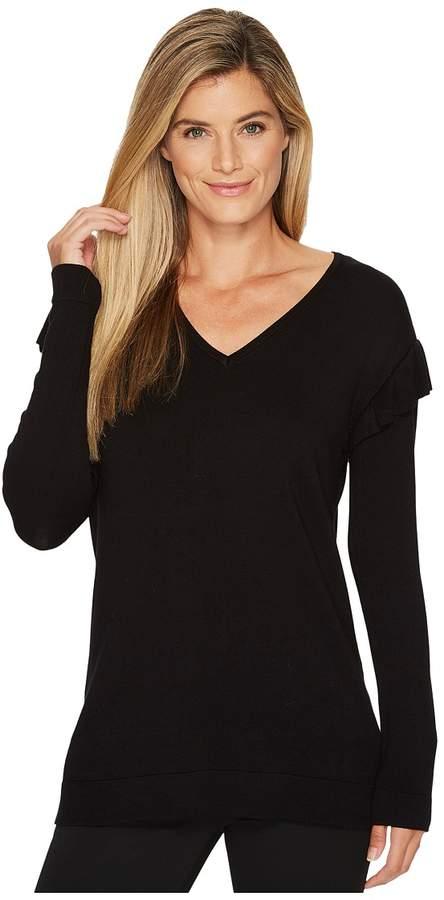 Calvin Klein - V-Neck with Ruffle Sleeve Women's Sweater