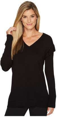 Calvin Klein - V-Neck with Ruffle Sleeve Women's Sweater