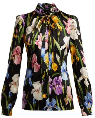 Dolce & Gabbana Iris Print Silk Blend Blouse - Womens - Black Multi