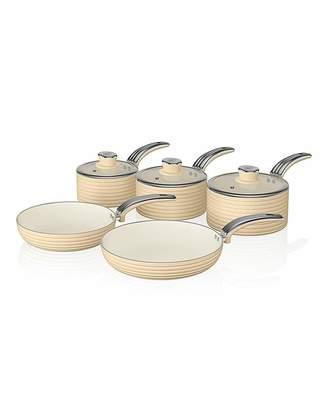 Swan Retro 5 Piece Pan Set Cream
