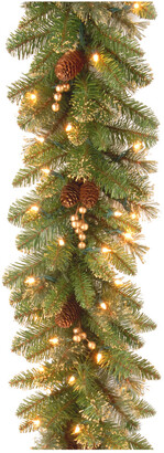 clear National Tree Company 9Ft Glittery Gold Pine Garland With Lights