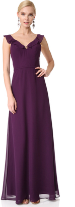 Monique Lhuillier Bridesmaids V Neck Ruffle Gown $280 thestylecure.com