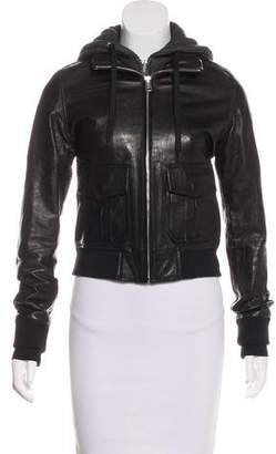 R 13 Hooded Leather Jacket