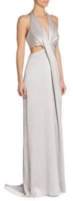 Halston Deep V-Neck Gown