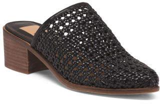 Open Weave Stacked Heel Mules