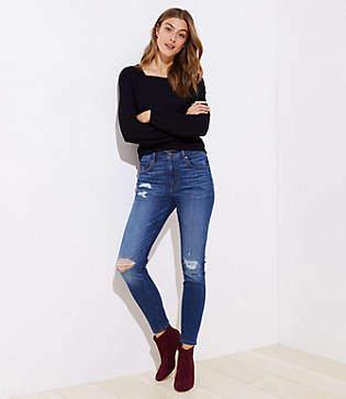 LOFT Modern Distressed High Waist Skinny Jeans in Mid Indigo Wash